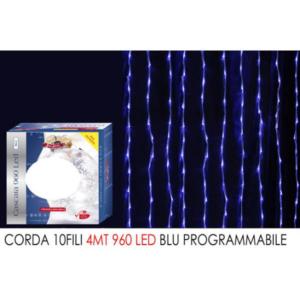Corda 10 fili mt.4 c/960 led blu' art. 450303