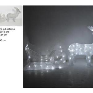Renna c/slitta luminosa 100 led uso esterno art 667299