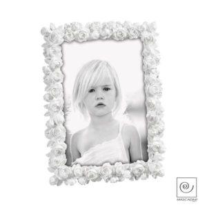 Portafoto 13x18 resina bianco