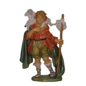 Statua Presepe: Pastore con pecora in spalla cm.20 art.PAS10-NL