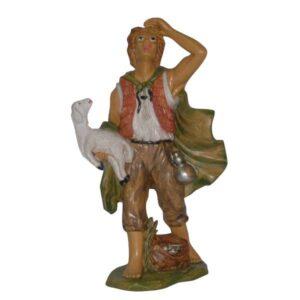 Statua Presepe: Pastore con pecora in braccio cm.20 art.PAS13-NL