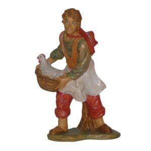 Statua Presepe: Contadino con gallina cm.20 art.PAS15-NL