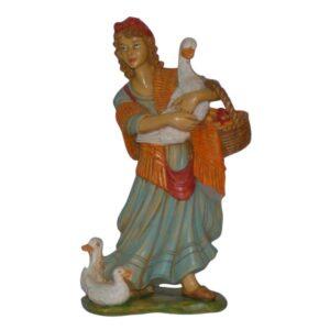 Statua Presepe: Pastorella con oche e cesto cm.20 art.PAS16-NL