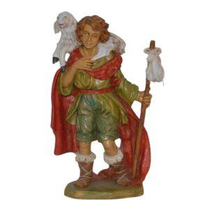 Statua Presepe: Pastore con pecora in spalla cm.30 art.PAS30-10NL