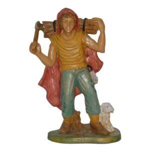 Statua Presepe: Pastore con fascio di legna in spalla cm.30 art.PAS17-NL