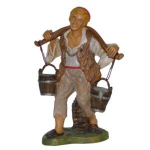 Statua Presepe: Pastore con secchi d'acqua cm.30 art.PAS20-NL